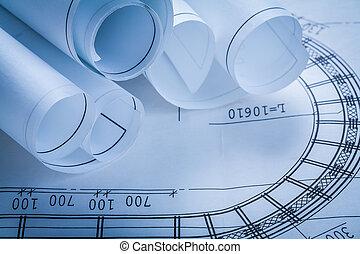 bâtiment, concept, groupe, construction, dessins, architecture