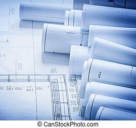 bâtiment, concept, groupe, plans, construction, architecture