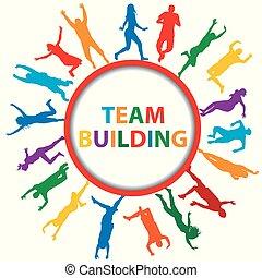 bâtiment, concept, hommes, silhouettes, équipe, femmes