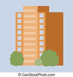 bâtiment, concept, illustration., moderne, multi-storey, complexe, vecteur, construction., design.