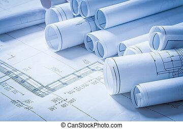 bâtiment, concept, ingénierie, construction, dessins, tas