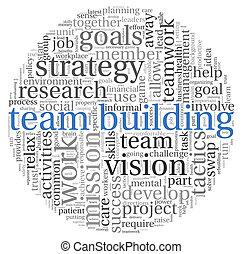bâtiment, concept, mot, étiquette, équipe, nuage