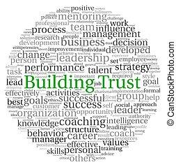 bâtiment, concept, mot, étiquette, confiance, nuage