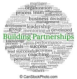 bâtiment, concept, mot, étiquette, nuage, partenariats