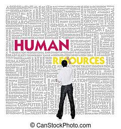 bâtiment, concept, mot, business, nuage, ressources humaines, homme