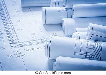 bâtiment, concept, plans, haut, construction, architecture, fin