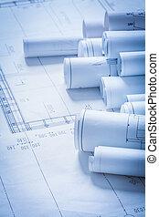 bâtiment, concept, plans, ingénierie, construction, rouleaux