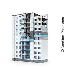 bâtiment, concept, résidentiel, haut-ascension, illustration, bâtiment., maison, façade, plan, chauffage, 3d
