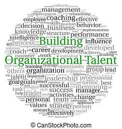 bâtiment, concept, talent, étiquette, organisationnel, mot, nuage