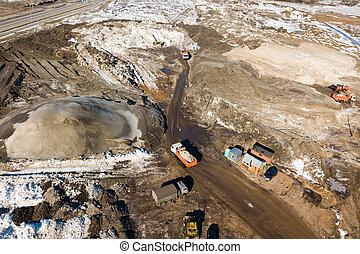 bâtiment, constru, industriel, chargeur seau, earthworks, machines