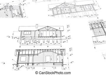 bâtiment, construction maison, plans