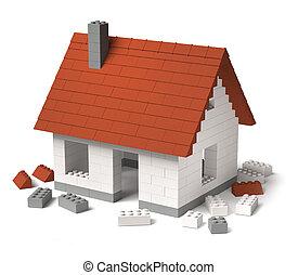 bâtiment, construire, bloc, tuiles, maison, jouet, 3d