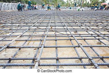 bâtiment, construit, construction, plancher, cage, fer, filet, renforcer