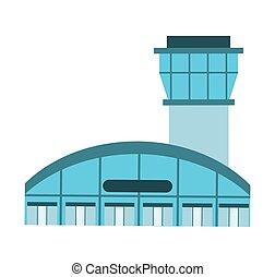 bâtiment, contrôle, aéroport, tour