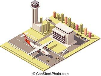 bâtiment, contrôle, isométrique, poly, terminal, aéroport,...