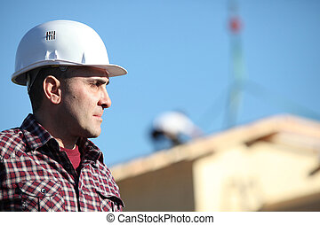 bâtiment, contremaître, site construction
