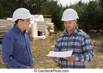 bâtiment, conversation, site construction, planificateurs