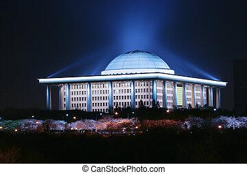 bâtiment, corée, montage, national, nuit, yeouido, vue