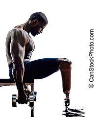 bâtiment corps, prosthe, handicapé, poids, jambes, constructeurs, homme