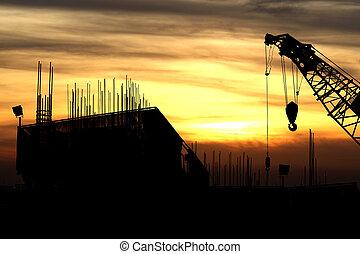bâtiment, coucher soleil, grue, construction, silhouette