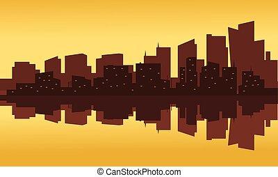 bâtiment, coucher soleil, silhouette, bureau