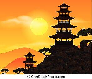 bâtiment, coucher soleil, silhouette, scène, fond