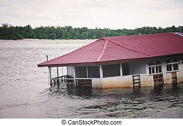 bâtiment, couler, eau