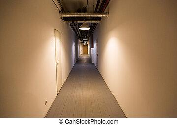 bâtiment, couloir, bureau