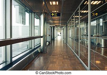 bâtiment, couloir, verre
