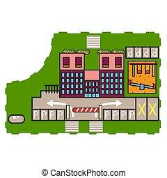 bâtiment, cour de récréation, illustration, vector.