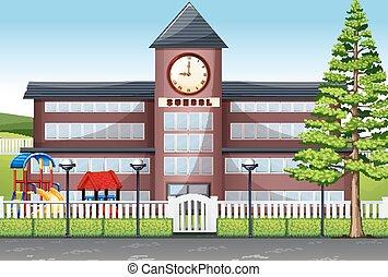 bâtiment, cour récréation scolaire
