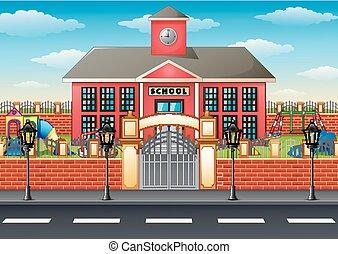 bâtiment, cour récréation scolaire, secteur