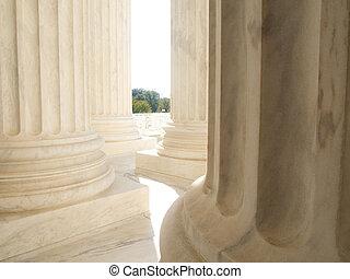 bâtiment, cour suprême, washington dc, nous, marbre blanc, colonnes