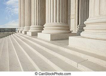 bâtiment, cour suprême, washington dc, piliers, étapes, devant