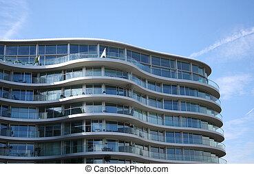 bâtiment, courbé, appartement