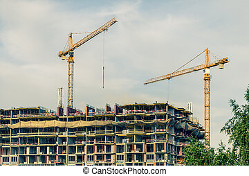 bâtiment, crains, site construction