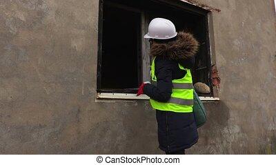 bâtiment, début, ingénieur, sécurité, inachevé, officier, inspection, femme