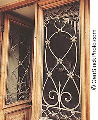 bâtiment, décoratif, porte, reflet, bois, ornament., verre, rue, architecture, fer, vieux, tbilisi