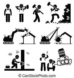 bâtiment, démolir, démolition, icônes