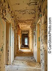 bâtiment, détruit, abandonnés, couloir