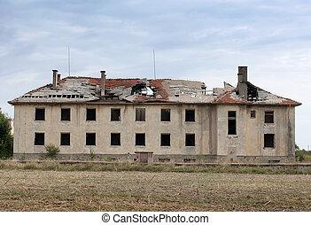 bâtiment, détruit, vieux, roof.