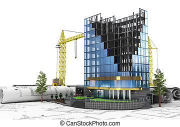 bâtiment, développement, concept abstrait, 3d