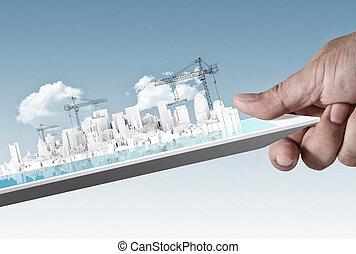 bâtiment, développement, concept