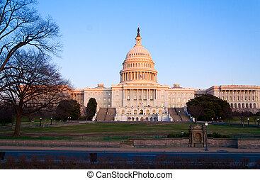 bâtiment, dc, capitole, usa, washington, coucher soleil, avant