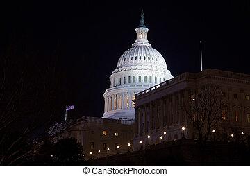 bâtiment, dc, capitole, usa, washington, nuit
