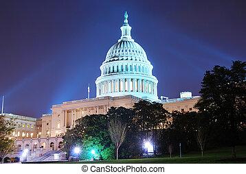 bâtiment, dc, capitole, washington, colline