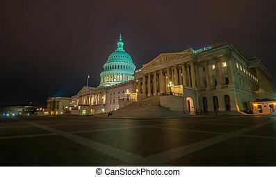 bâtiment, dc, uni, capitole, spring-, washington, nous, etats