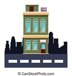 bâtiment, dessin animé, appartements