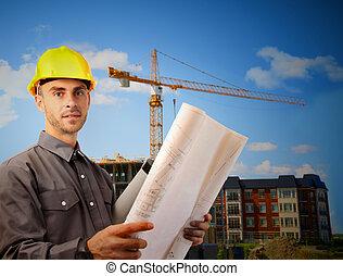 bâtiment, devant, architecte, jeune, site