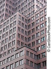 bâtiment, différent, bureau, moderne, niveaux, façade